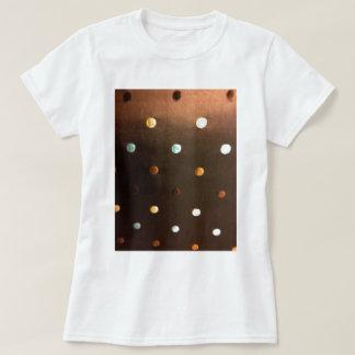 gold yellow bronze brown blue polka dots T-Shirt