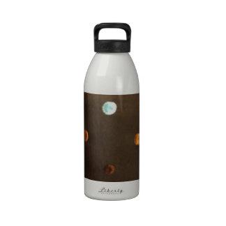 gold yellow bronze brown blue polka dots drinking bottle