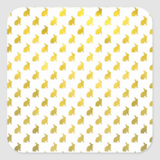 Gold Yellow Bunny Background Faux Foil Bunnies Square Sticker
