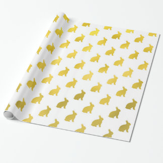 Gold Yellow Bunny Background Faux Foil Bunnies Wrapping Paper