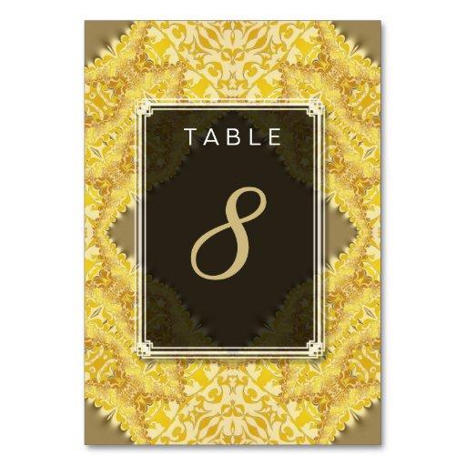 Gold Yellow Damask Wedding Menu Table Number Card