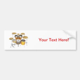 Gold / Yellow Drum Kit: Car Bumper Sticker