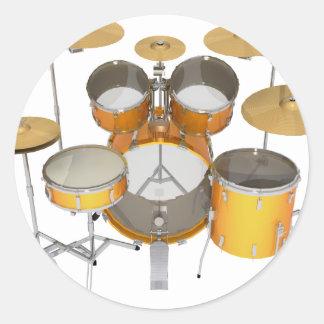 Gold / Yellow Drum Kit: Classic Round Sticker