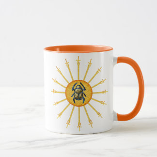 Gold Yellow Egyptian Scarab Sun Ankh Coffee Mug
