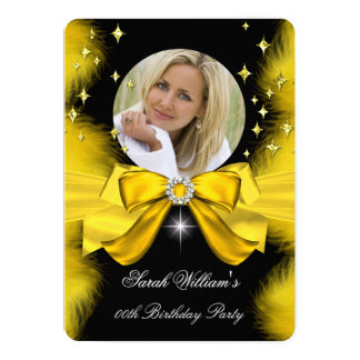 Gold Yellow Feathers Bow Birthday Party Photo 2 5x7 Paper Invitation Card