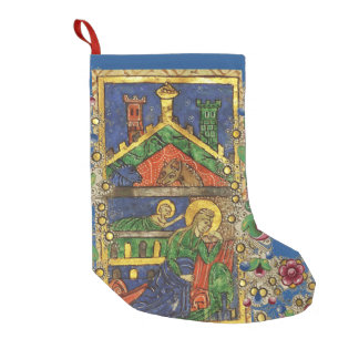 GOLD YELLOW FLORAL, NATIVITY CHRISTMAS PARCHMENT SMALL CHRISTMAS STOCKING