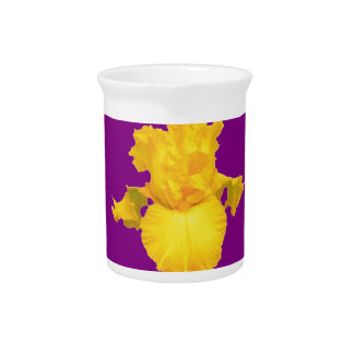 Gold-Yellow Iris Purple Art Design Drink Pitcher