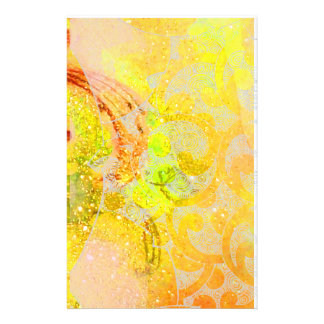 GOLD YELLOW ORANGE ABSTRACT WAVES, FLORAL SWIRLS STATIONERY