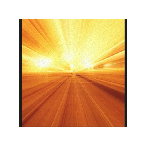 Gold Yellow Orange Abstract Zoom Blur Gallery Wrapped Canvas