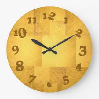 Gold Yellow Orange Scribbly Scratch Fading Numbers Large Clock