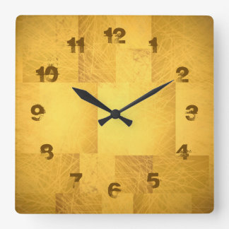 Gold Yellow Orange Scribbly Scratch Fading Numbers Square Wall Clock