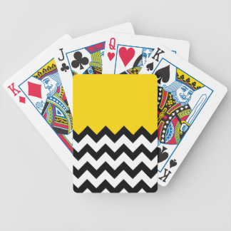 Gold Yellow Pattern On Large Zigzag Chevron Bicycle Poker Deck