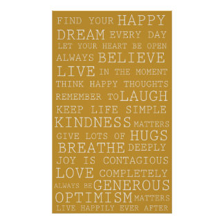 Gold Yellow Positive Thoughts Inspirational Words Poster