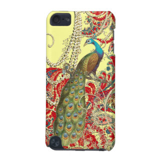 Gold Yellow Red Teal Peacock Swirl iTouch Case