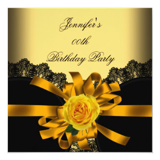 Gold Yellow Rose Black Lace Birthday Party Card