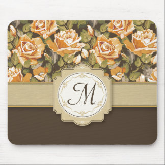 Gold Yellow Roses on Brown with Monogram Mouse Pad