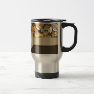 Gold Yellow Roses on Brown with Monogram 15 Oz Stainless Steel Travel Mug