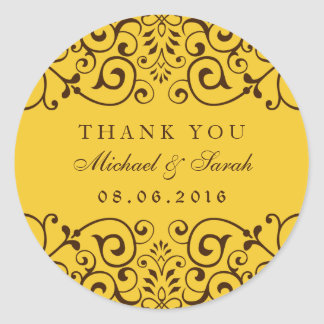 Gold Yellow Vintage Swirl Floral Thank You Sticker