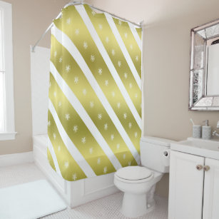 Gold Yellow White Crop Circle Stripes Shower Curtain