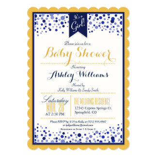 Gold Yellow, White, & Navy Blue Baby Shower Card