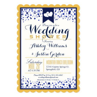 Gold Yellow, White, & Navy Blue Wedding Shower Card