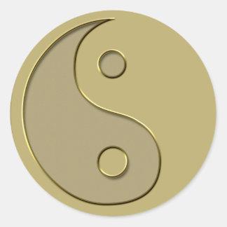 gold yin yang classic round sticker