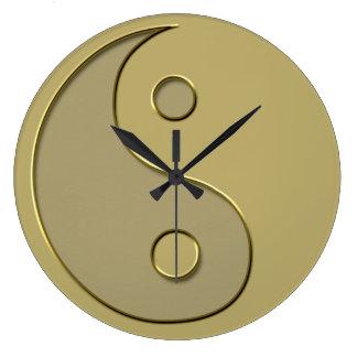 gold yin yang large clock