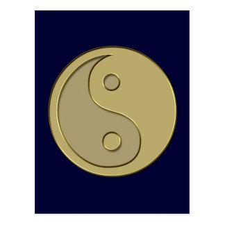 gold yin yang postcard