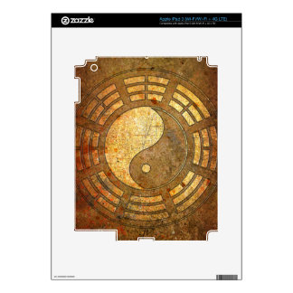Gold Yin Yang Sign On Stone Background iPad 3 Decal