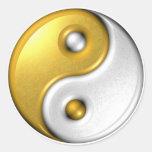 Gold Ying Yang Classic Round Sticker