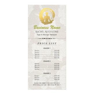 Gold Yoga Meditation Pose & ZEN Symbol Price List Rack Card