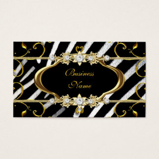 Gold Zebra Black White Jewel Image Business Card
