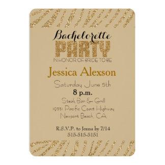 Gold Zebra Print Faux Glitter Bachelorette Personalized Announcements