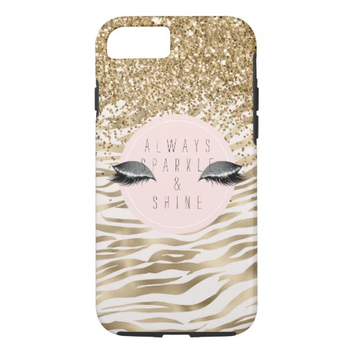 Gold Zebra Print Glitzy Eyes iPhone 8/7 Case