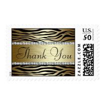Gold Zebra Print Thank You Postage Stamp