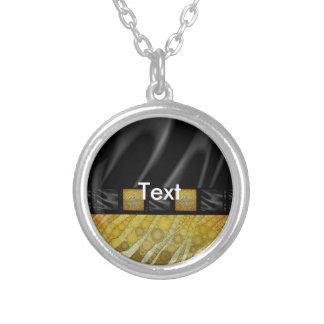 Gold Zebra Silk Round Pendant Necklace