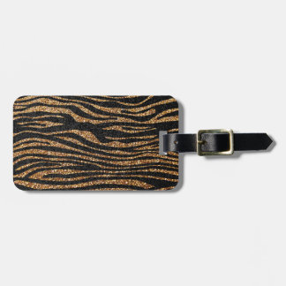 Gold zebra stripe pattern (faux glitter bling) bag tag