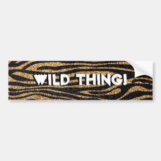 Gold zebra stripe pattern (faux glitter bling) car bumper sticker
