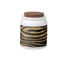 Gold zebra stripe pattern (faux glitter bling) candy dish