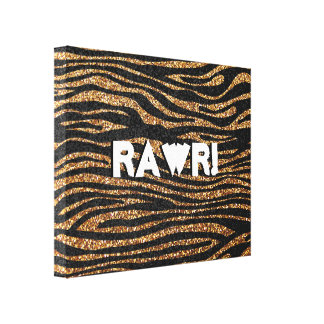 Gold zebra stripe pattern (faux glitter bling) canvas print