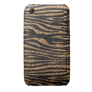 Gold zebra stripe pattern (faux glitter bling) iPhone 3 case