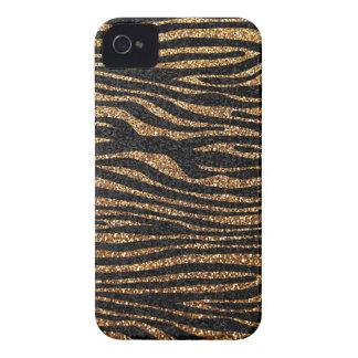 Gold zebra stripe pattern (faux glitter bling) Case-Mate iPhone 4 case