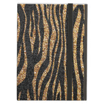 Gold zebra stripe pattern (faux glitter bling) cover for iPad air