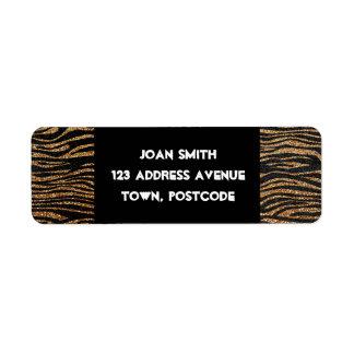 Gold zebra stripe pattern (faux glitter bling) return address label