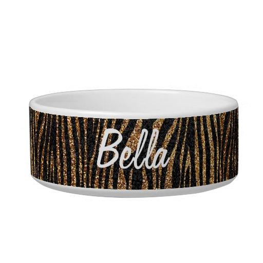 Gold zebra stripe pattern (faux glitter bling) pet bowls