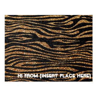 Gold zebra stripe pattern (faux glitter bling) postcards