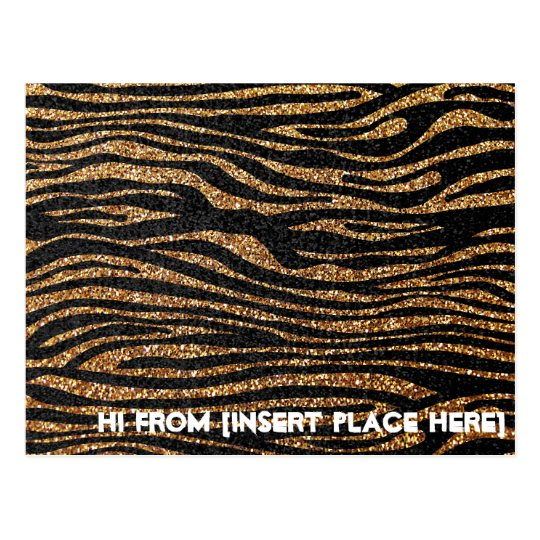 Gold zebra stripe pattern (faux glitter bling) postcard