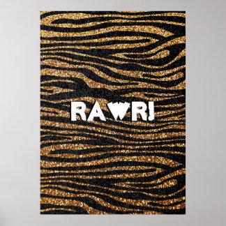 Gold zebra stripe pattern (faux glitter bling) print