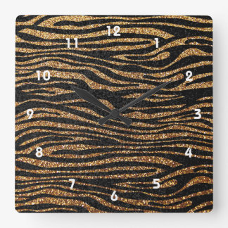 Gold zebra stripe pattern (faux glitter bling) square wall clock