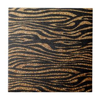 Gold zebra stripe pattern (faux glitter bling) tile